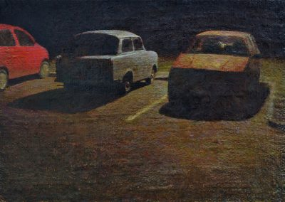 Fejős Miklós: Kis parkoló /// 2008 · 17 × 14 cm · olaj, vászon