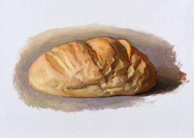 Fejős Miklós: Kenyér I. /// 2014 · 37 × 52 cm · olaj, vászon